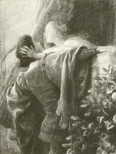 'O, Think'st Thou We Shall Ever Meet Again' by Frank Dicksee (1853-1928, United Kingdom)