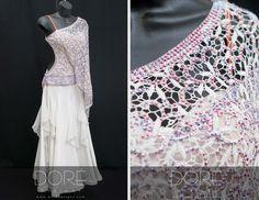 White Standard w Stoned Lace Overlay w Fuchsia AB Stones