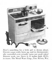 Metal Ware Electric Toy Stove 1955 Ad Picture
