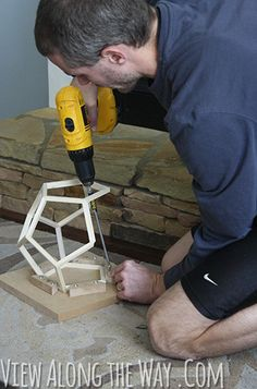 diy crafts   Make a DIY Wooden Dodecahedron Pendant Light   Man Made DIY   Crafts ...