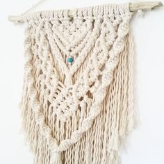 Boho macrame wall hanging featuring a touch of turquoise www.creativebowerbird.com