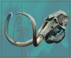 Cráneo de mamut. (digital) Mammoth skull.