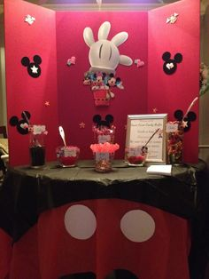 Mickey candy buffet by A Sweet Event. Candy Buffet, Buffets, Sweet, Party, Home Decor, Candy, Decoration Home, Room Decor, Buffet