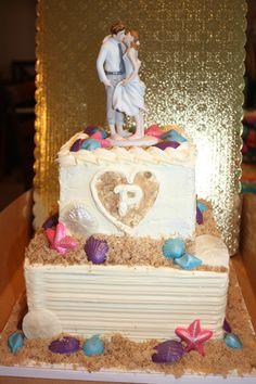 Beach themed wedding cake by Cupcake Bliss