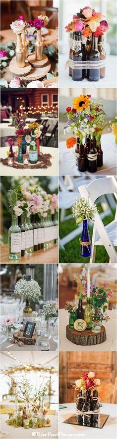 Wine bottle vineyard wedding ideas / www.deerpearlflow… Wine bottle vineyard wedding ideas / www. Wine Bottle Centerpieces, Vintage Centerpieces, Wedding Wine Bottles, Wedding Centerpieces, Wedding Table, Wedding Ideas, Trendy Wedding, Brewery Wedding Reception, Beer Bottles