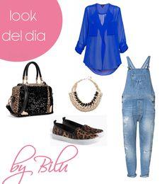 Look del Día Moda Honduras  Hoy te propongo un peto denim con una camisa azul eléctrico con accesorios dorados, bolso y bambas animal print atrévete están de moda!