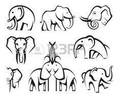silhouette animaux: ensemble de huit éléphants icônes monochromes