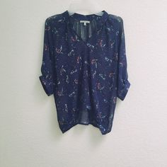 Bird print blouse Preloved bird print blouse. Worn three times, but in excellent condition. No snags. Got many compliments wearing this top. Would look so cute with skinny jeans and tan booties. It has a bubble hem. Could fit XS/S. 100% polyester. Will post more pictures soon! Charlotte Russe Tops Blouses