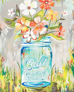 The GreenBox Art Ball Perfect Mason Jar Wall Art brings a beautiful and contemporary design to your décor. Colorful flowers featured in a mason jar, this piece will add character and brighten up your wall space. Daisy Painting, Painting & Drawing, Jar Painting, Spring Painting, Painting Flowers, Painting Canvas, Painting Frames, Painting Prints, Paintings