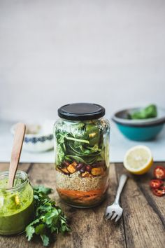 Mason Jar Quinoa Salad with Green Thai-Style Dressing