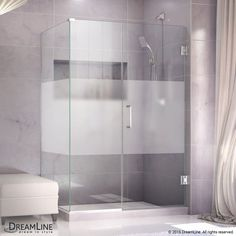 "DreamLine SHEN-24480300-HFR Unidoor Plus 72"" High x 48"" Wide x 30-3/8"" Deep Hing Chrome Showers Shower Enclosures Corner"