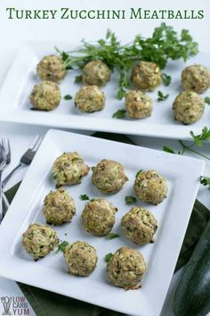Easy to make chicken or turkey zucchini meatballs baked in the oven. The shredded zucchini ensures that the meat stays moist. Makes a tasty appetizer! #glutenfree #dairyfree #keto #lowcarb | LowCarbYum.com via @lowcarbyum