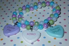 pastel convo hearts valentine beaded necklace
