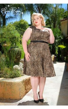 New Style Heidi Dress Plus Size in Leopard by Pinup Couture | Pinup Girl Clothing.  Who would like to take her home with him, I know I would.