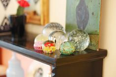 Glass paperweights. My grandmother used to have these...I need to start a collection too!