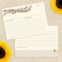 flourish recipe cards (by yellowbrick graphics) #handmade #bridal-shower