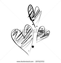 Illustration with three grunge hearts