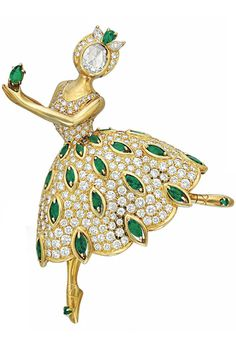 A DIAMOND AND EMERALD 'BALLET PRÉCIEU' BROOCH, BY VAN CLEEF & ARPELS. in a Van Cleef & Arpels gray suede case. Signed V.C.A. for Van Cleef & Arpels, N.Y., no. 55843