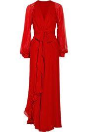 HaneyCoco silk-chiffon wrap gown. Fairy tale trend