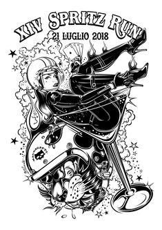 """Design BW for the """"XIV SPRITZ RUN 2018"""" - ITALY 2018 - www.dvicente-art.com"""