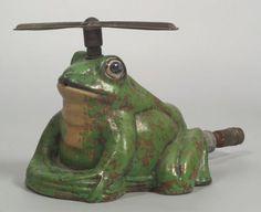 Weller Pottery Coppertone frog sprinkler Ohio, ea : Lot 3402 Vintage Pottery, Pottery Art, Garden Art, Garden Tools, Garden Sprinklers, Weller Pottery, Vintage Gardening, Watering Cans, Flower Frog