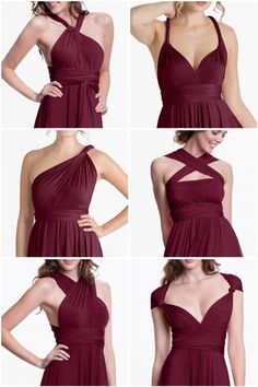 Sakura Burgundy Wine Midi Convertible Dress - Convertible Dresses - Shop