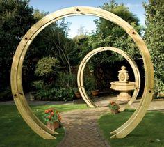 Grange Freestanding Flower Wooden Circle Arch.
