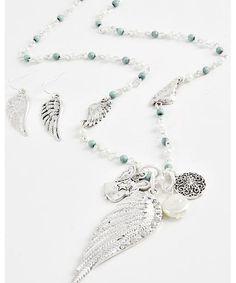 444394 Angel & Wing Pendant / Necklace & Fish Hook Earring Set