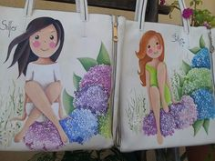 Silfo preciosa Dress Painting, One Stroke Painting, Fabric Painting, Painted Bags, Painted Clothes, Hand Painted, 3d Drawing Pen, Doll Drawing, Jute Bags