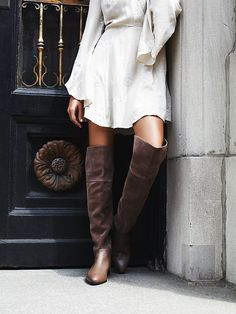 Grafton Over the Knee Suede Boot | Supple textured suede over-the-knee boots with easy back zip, pointed toes, and foldover tops.
