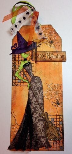 Halloween tag with Prima doll by Julie Nutting. Halloween Paper Crafts, Halloween Tags, Halloween Projects, Fall Halloween, Halloween Decorations, Halloween Stuff, Prima Paper Dolls, Prima Doll Stamps, Tag Design