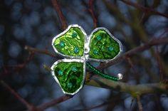 Glass Shamrock Brooch St Patricks Day by BluebirdsGlass on Etsy, £6.00