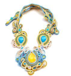 Necklace made of beautiful chalcedony, jade, rhinestone belts and glass beads http://moniartbizu.blogspot.com/