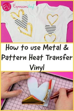 Follow this step by step tutorial and learn how to use metal and pattern heat transfer vinyl. Patterned Heat Transfer Vinyl, Insert Image, Iron On Vinyl, Vinyl Projects, Being Used, Cricut Design, T Shirts For Women, Metal, Crafts