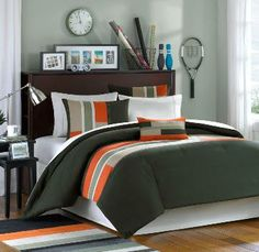 Olive Tan and Orange Striped Teen Bedding
