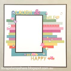 This page layout was inspired by a design by Jennifer Smith. Created by Denise Tarlinton, this version of the page features 1/2 inch strips of Whimsy Fundamentals to create a colourful title page. A great way to use up paper scraps and Zip Strips.