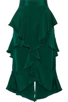 Emerald silk-crepe Concealed hook and zip fastening at back 100% silk Dry clean