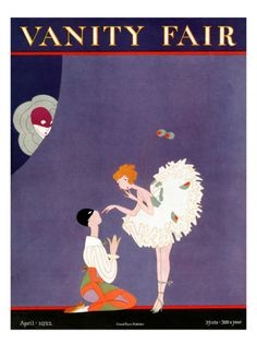 In this illustration by A.H. Fish, which appeared on the April 1922 cover of Vanity Fair magazine, two dancers engage in a little onstage flirtation while a third party secretly observes from behind the scenes.