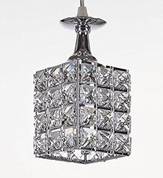 New Galaxy 1-light Chrome Finish Metal Shade Crystal Chandelier Hanging Pendant Ceiling Lamp Fixture, #8312 - - Amazon.com  $35