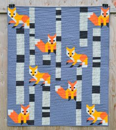 "Fox #1 quilt blocks finish at 8"" x 8"" I am FINALLY myself testing these Forest Friends quilt blocks. And am making 5 at a time. En..."