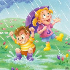 Kids with umbrella in the rain Yellow Umbrella, Princess Peach, Disney Princess, I Love Winter, Flower Phone Wallpaper, Kids Running, School Decorations, Cartoon Kids, New Kids