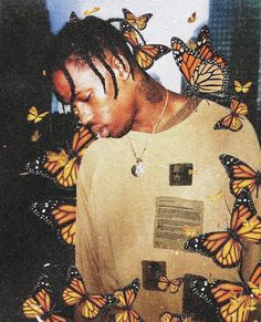Travis Scott mixed with his traditional butterflies. Cool way to mix a photograph with digital graphics Rap Wallpaper, Aesthetic Iphone Wallpaper, Aesthetic Wallpapers, Travis Scott Iphone Wallpaper, Travis Scott Wallpapers, Tyler The Creator Wallpaper, Bedroom Wall Collage, Photo Wall Collage, Arte Grunge