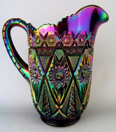 *IMPERIAL ~ Diamond Lace, Carnival glass, spectacular purple, pitcher