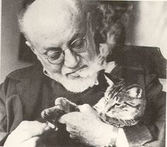 I don't care how famous you are, cats do not like cigarette smoke. Henri Emile Benoit Matisse (French artist/painter) with his cat, 1948