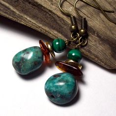 riverpebble stonewear ~ handmade jewelry - GIZA-Turquoise Earrings with Sterling Silver