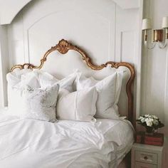 💕SHOP💕 www.design Fabulous Home Decor & Furniture…Lamps, Dishes, Rugs, Picture Frames…Featuring R. Rogers Designs Headboards What is Decoration? Decoration is … Parisian Bedroom Decor, Home Interior, Interior Design, Kitchen Interior, Aesthetic Bedroom, Home Bedroom, Master Bedroom, Bedrooms, Bedroom Apartment
