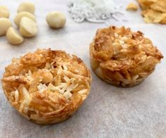 These crunchy Coconut & Macadamia Bites are a cinch to prepare. They're a bit like honey joys, only healthier. The kids will love them too. Healthy Mummy Recipes, Allergy Free Recipes, Coconut Recipes, Sugar Free Recipes, Healthy Baking, Sweet Recipes, Snack Recipes, Cooking Recipes, Vegan Baking