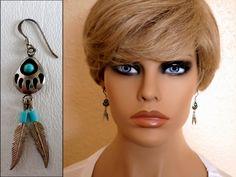 Vintage Dangle Earrings, Tiny Sterling Silver Bear Paw Turquoise Shadowbox, December Birthstone, Boho Southwestern Western Wear ID 493065629 by LaBelleBead on Etsy