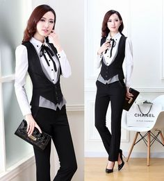 New Plus Size 2015 Spring Autumn Novelty Grey Office Work Wear Women's Suits With Pants Ladies Female Clothing Set Vest + Pants Blazers For Women, Suits For Women, Women Wear, Clothes For Women, Ladies Blazers, Suit Fashion, Women's Fashion Dresses, Work Wear Office, 2015 Fashion Trends