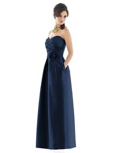 Strapless Navy midnight blue long bridesmaid dress, winter Christmas wedding  Bridesmaid Alfred Sung Style D499 (has pockets!) http://www.dessy.com/dresses/bridesmaid/d499/#.Ut8BPxAo6M8